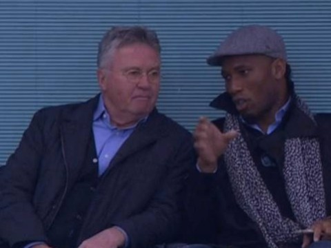 Didier Drogba pictured sat alongside Guus Hiddink and Roman Abramovich at Stamford Bridge