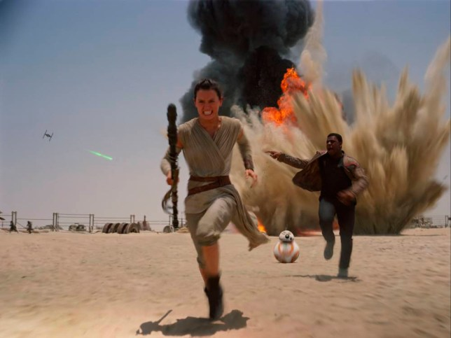 """Film: Star Wars: Episode VII - The Force Awakens (2015), with John Boyega as Finn and Daisy Ridley as Rey. This photo provided by Disney shows Daisey Ridley as Rey, left, and John Boyega as Finn, in a scene from the new film, """"Star Wars: The Force Awakens,"""" directed by J.J. Abrams. The movie releases in the U.S. on Dec. 18, 2015. (Film Frame/Disney/Lucasfilm via AP)"""