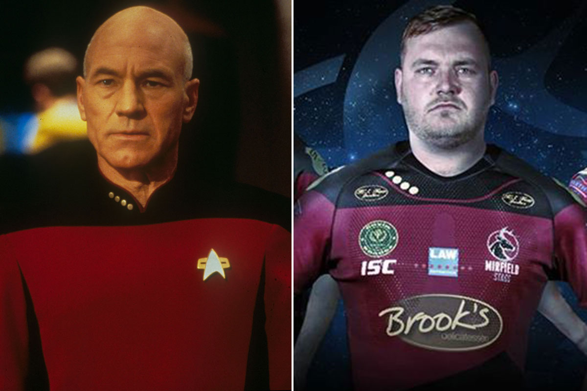 Sir Patrick Stewart has inspired his home town rugby team's new kit