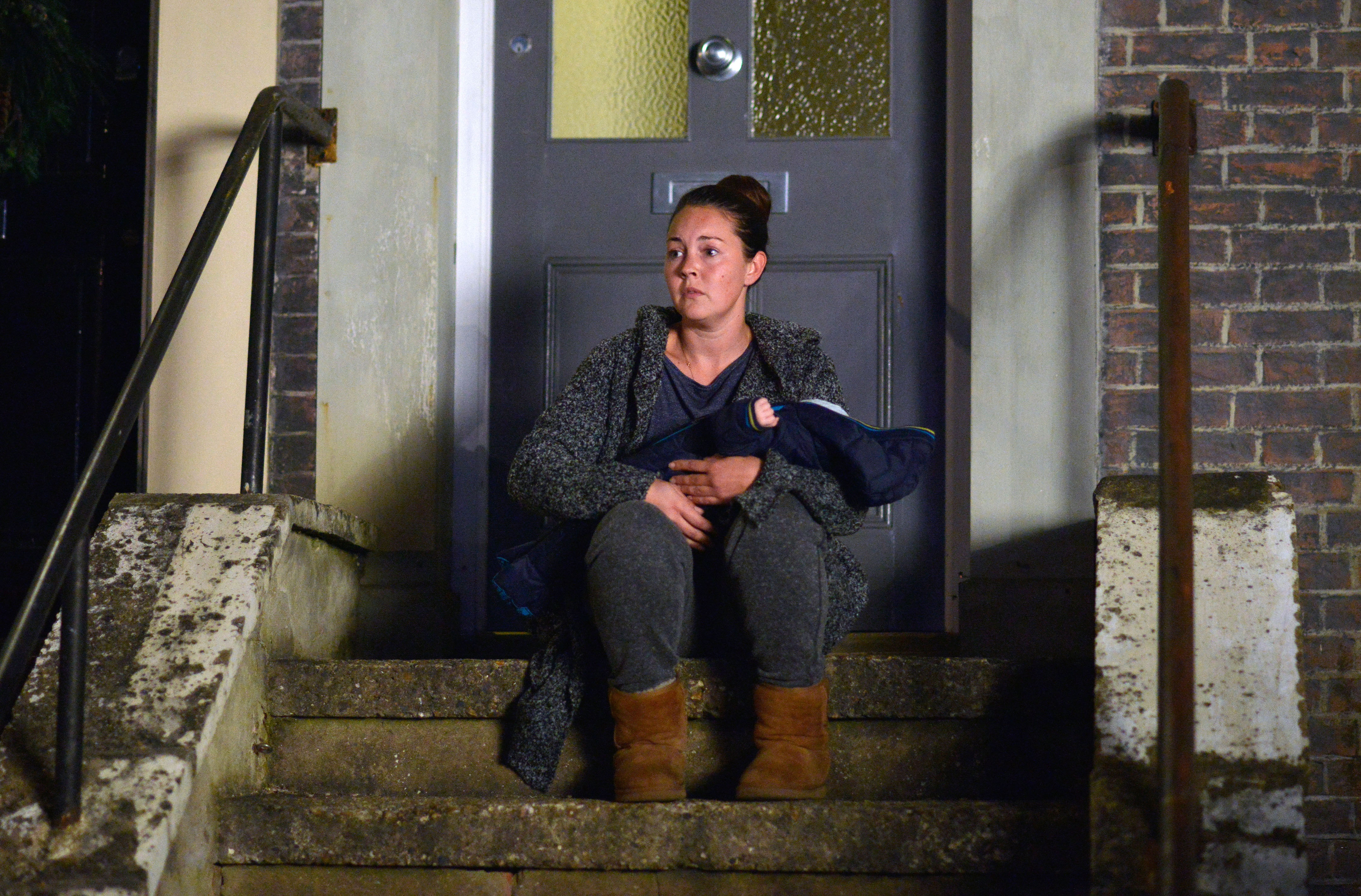 WARNING: Embargoed for publication until 00:00:01 on 05/12/2015 - Programme Name: EastEnders - TX: 25/12/2015 - Episode: 5198 (No. n/a) - Picture Shows: Stacey sits with the baby and Kat returns. Stacey Branning (LACEY TURNER) - (C) BBC - Photographer: Kieron McCarron