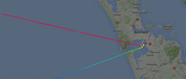 The red line shows where the plane should have gone (Picture: Flight Radar)
