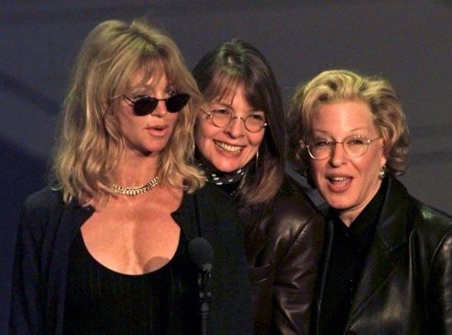 """Actresses Goldie Hawn (L), Diane Keaton (C) and Bette Midler (R), who all starred in the movie the """"First Wives Club,"""" rehearse for the 69th Academy Awards to held at the Shrine Auditorium in Los Angeles, California 24 March. Keaton is up for a Best Actress Oscar for her role in """"Marvin's Room"""". (ELECTRONIC IMAGE)...E"""