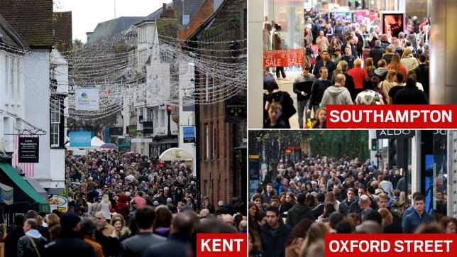A busy Canterbury High Street in Kent, as panic-buyers and bargain-hunters are expected to flood stores on the busiest day in the Christmas shopping calendar today, with high street shops slashing prices in an attempt to coax consumers down the aisles. PRESS ASSOCIATION Photo. Picture date: Saturday December 19, 2015. Retailers including River Island, H&M, Sports Direct, Argos and Sainsbury's are already offering huge seasonal discounts - with many more sales due to kick off early instead of after Christmas. See PA story CONSUMER Christmas. Photo credit should read: Gareth Fuller/PA Wire
