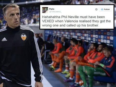 Phil Neville mocked on Twitter as brother Gary Neville appointed Valencia head coach