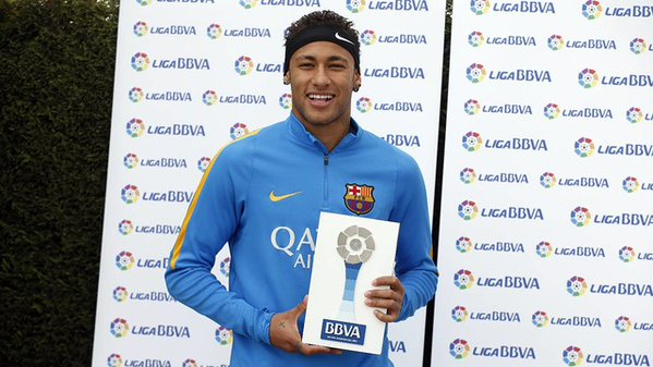 Neymar wins the La Liga Player of the Month award. (Picture: Twitter)