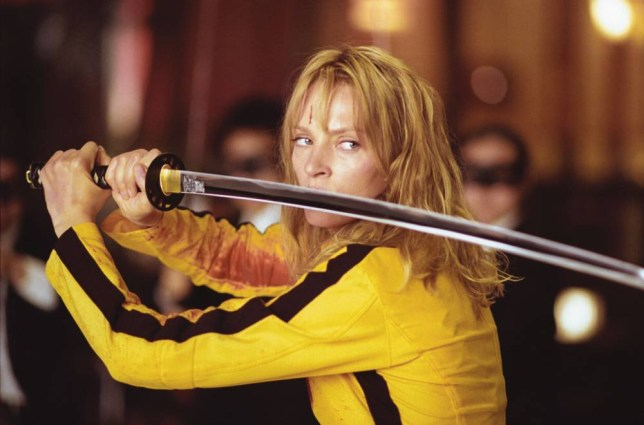 FILMS... Kill Bill: Volume 1 (2003); Uma Thurman pictured as The Bride, in a scene from the film.