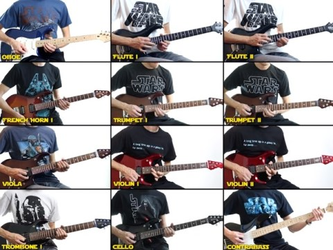 Every single part of the Star Wars theme played on a guitar