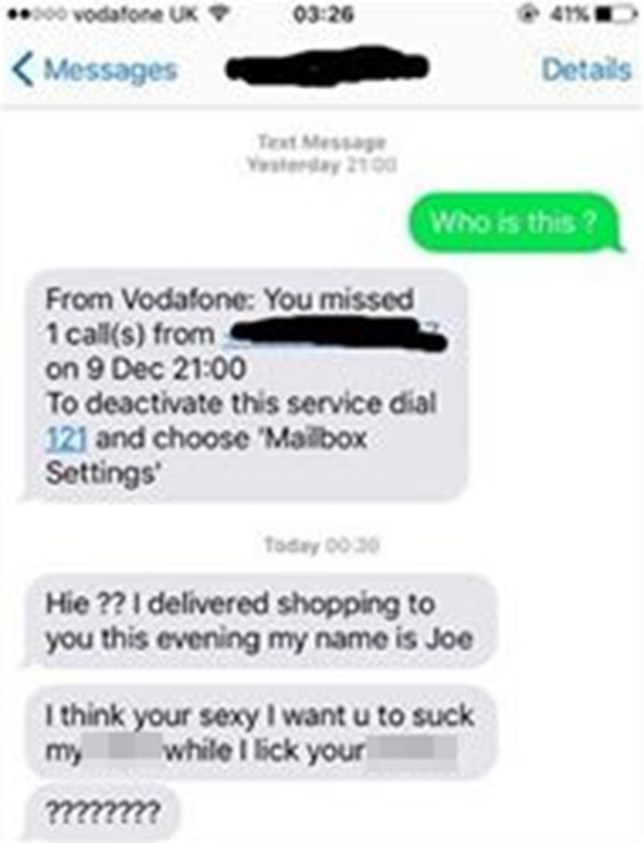 Woman gets delivery from Tesco, then gets VERY lewd text