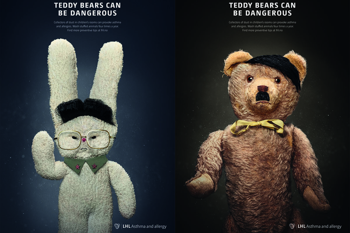 Norwegian charity dresses up teddy bears as Kim Jong-il, Gadaffi and Hitler. Credit: LHL
