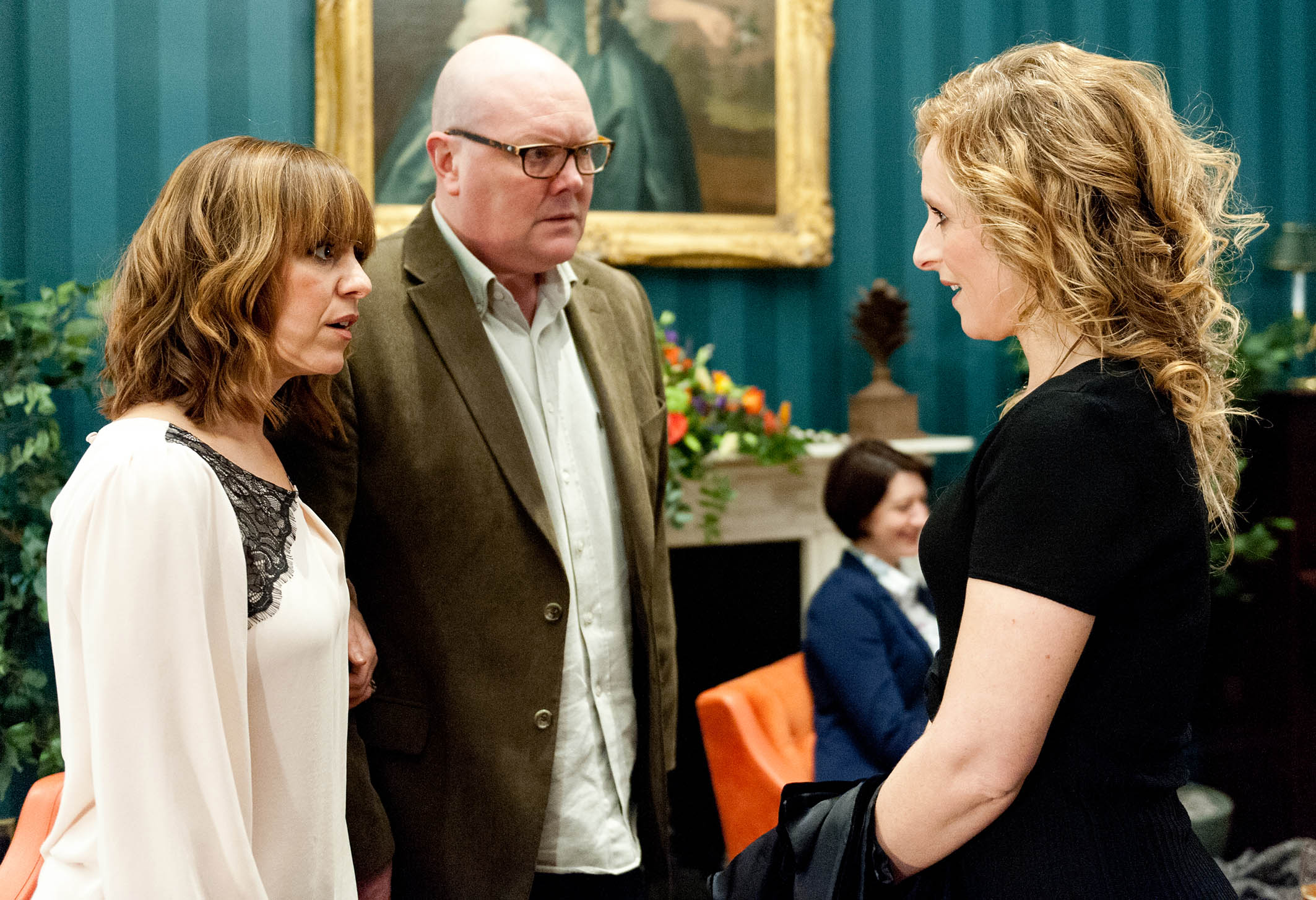 FROM ITV STRICT EMBARGO - Tuesday 19 January 2016 Emmerdale - Ep 7411 Thursday 28 January 2016 - 2nd Ep Paddy Kirk [DOMINIC BRUNT] is horrified when Rhona Goskirk [ZOE HENRY] spots Tess Harris [NICOLA STEPHENSON] and calls her over. Tess lies she's there with Pierce and accepts as Rhona invites her to have champagne, much to Paddy's horror. Tess plays Paddy and he's sure she's going to reveal their affair, woman scorned. Picture contact: david.crook@itv.com on 0161 952 6214 Photographer - Andrew Boyce This photograph is (C) ITV Plc and can only be reproduced for editorial purposes directly in connection with the programme or event mentioned above, or ITV plc. Once made available by ITV plc Picture Desk, this photograph can be reproduced once only up until the transmission [TX] date and no reproduction fee will be charged. Any subsequent usage may incur a fee. This photograph must not be manipulated [excluding basic cropping] in a manner which alters the visual appearance of the person photographed deemed detrimental or inappropriate by ITV plc Picture Desk. This photograph must not be syndicated to any other company, publication or website, or permanently archived, without the express written permission of ITV Plc Picture Desk. Full Terms and conditions are available on the website www.itvpictures.com