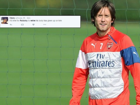 Arsenal fans demand Tomas Rosicky retires immediately after latest injury blow