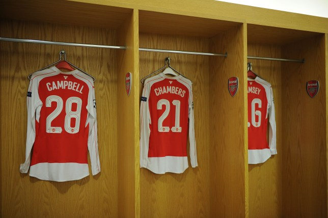 LONDON, ENGLAND - NOVEMBER 24: Joel Campbell, Calum Chambers and Aaron Ramsey shirts in the Arsenal changing room before the UEFA Champions League Group Stage match between Arsenal and Dinamo Zagreb on November 24, 2015 in London, United Kingdom. (Photo by Stuart MacFarlane/Arsenal FC via Getty Images)