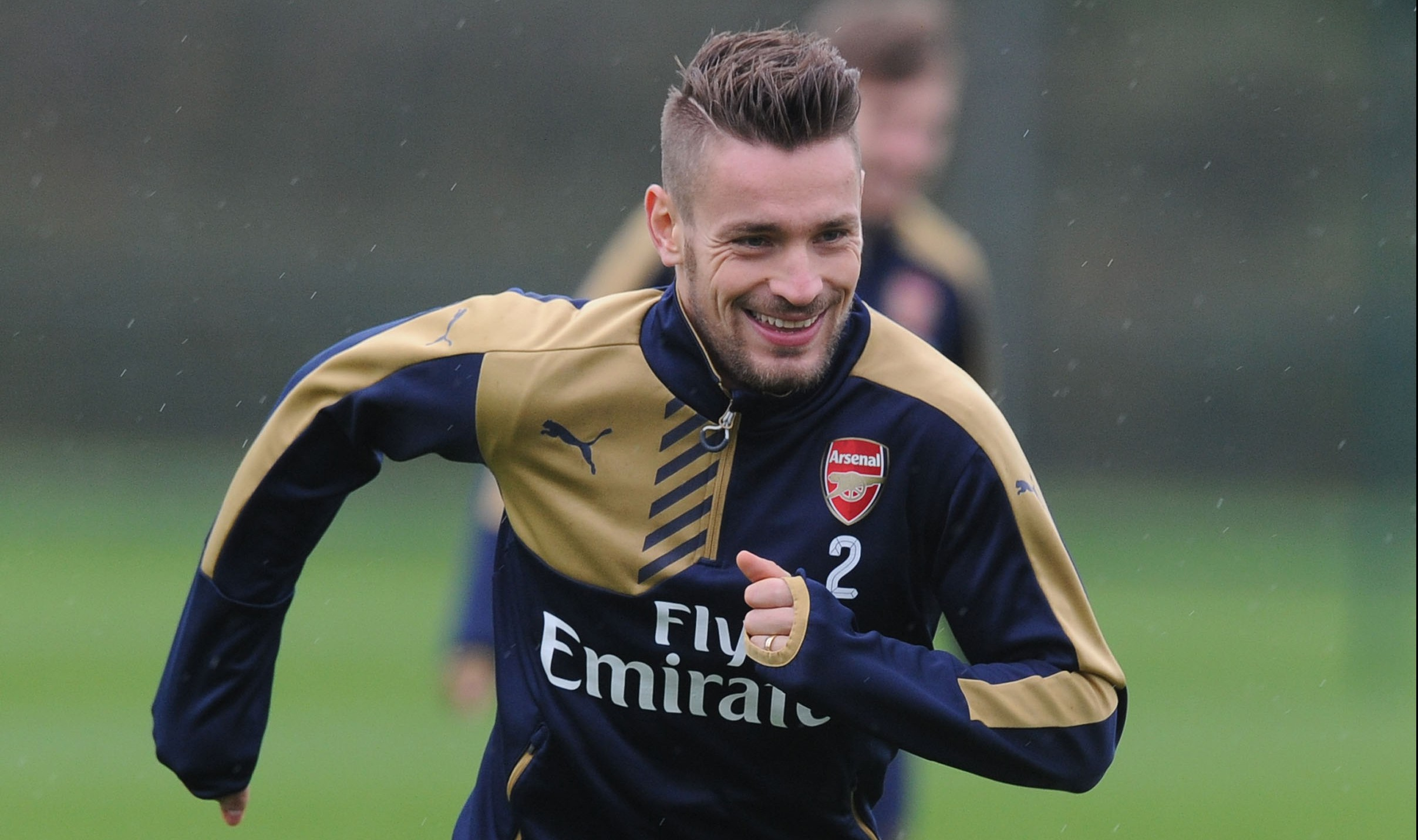 ST ALBANS, ENGLAND - DECEMBER 12: Mathieu Debuchy of Arsenal during a training session at London Colney on December 12, 2015 in St Albans, England. (Photo by Stuart MacFarlane/Arsenal FC via Getty Images)