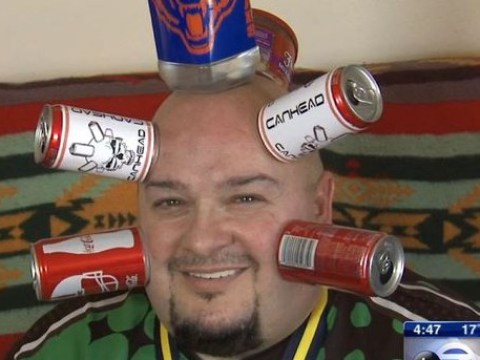 Meet 'canhead', the man who makes money suctioning beer cans to his head