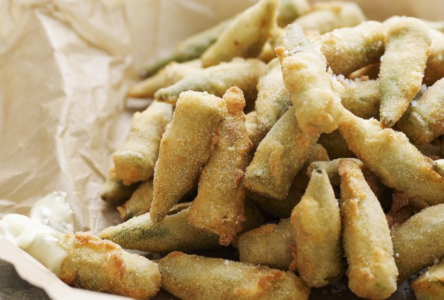 Deep Fried Okra with Buttermilk Semolina Crust