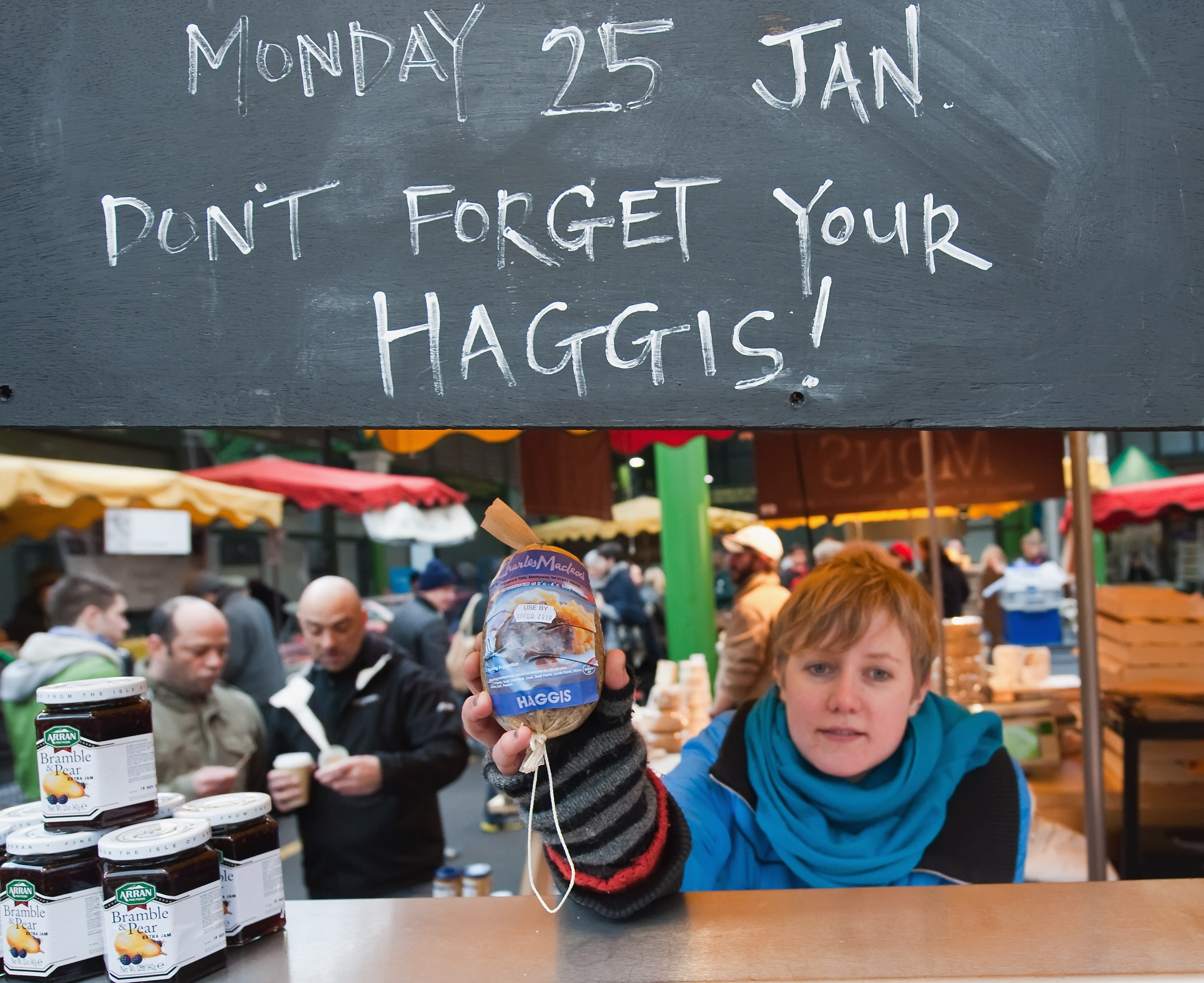 LONDON - JANUARY 23: Haggis is sold at a butcher shop to people who will celebrate Burns night on Monday on January 23, 2010 in London, England. Scots across the world annually celebrate on January 25th the life of Robert Burns, the country's most famous bard, with recitations of his poetry, the eating of haggis and imbibing of whisky. (Photo by Marco Secchi/Getty Images)