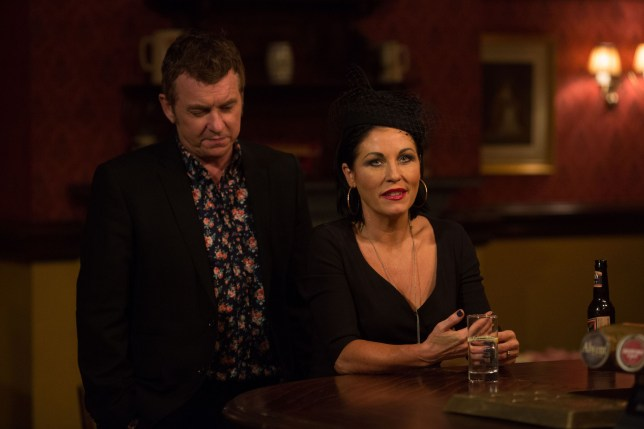 WARNING: Embargoed for publication until 00:00:01 on 12/01/2016 - Programme Name: Eastenders - TX: 19/01/2016 - Episode: 5214 (No. n/a) - Picture Shows: Kat says a few words about Charlie. Alfie Moon (SHANE RICHIE), Kat Moon (JESSIE WALLACE) - (C) BBC - Photographer: Jack Barnes
