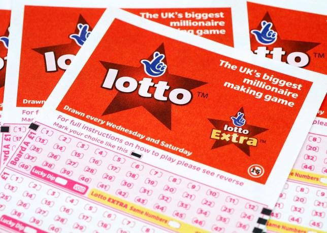 A3PKR6 National Lottery play slip  uk