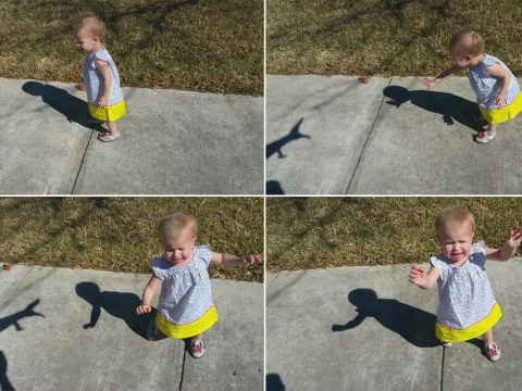 Father chasing daughter with his shadow is just too cruel