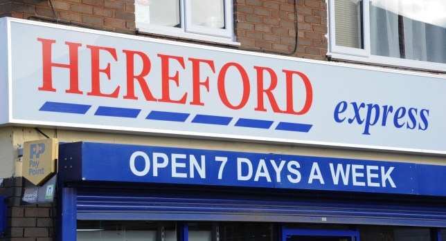 Composite image showing the branding of the 'Hereford Express' in relation to that of a Tesco Express. A cheeky shopkeeper is getting a little extra help with his business - after he painted his signage in a strikingly similar style to Tesco. See NTI story NTISHOP. Sris Kumar, 41, is risking the wrath of the supermarket giant after he named the shop Hereford Express using red-white-and-blue colours. The shop, on Folly Lane in Hereford, changed its signage two weeks ago and pictures of it have been shared hundreds of times on social media. But despite the close comparison to Tesco, Mr Kumar, who took over the shop last year, is adamant he has not copied the iconic store.