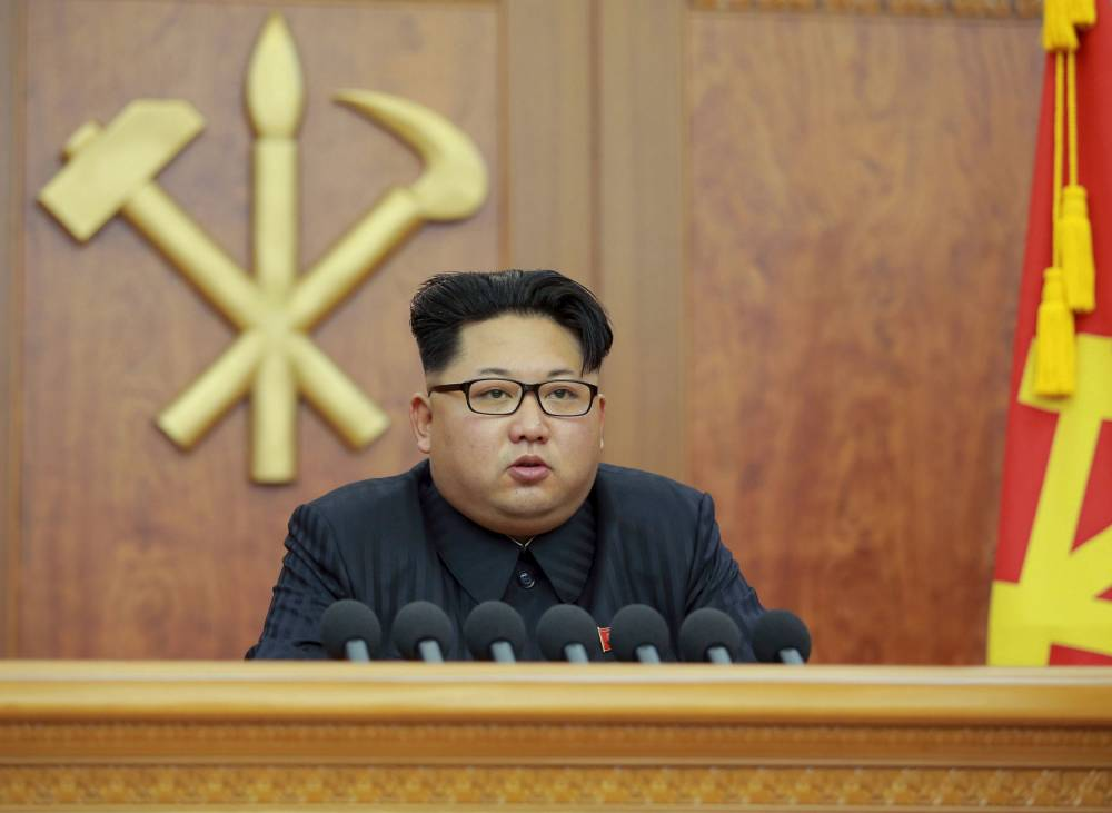 North Korean leader Kim Jong Un gives a New Year's address for 2016 in Pyongyang, in this undated photo released by Kyodo January 1, 2016. North Korean leader Kim Jong Un blamed South Korea on Friday for increased mistrust in a New Year speech after a year of heightened tension between the rival countries. Mandatory credit REUTERS/Kyodo ATTENTION EDITORS - THIS PICTURE WAS PROVIDED BY A THIRD PARTY. REUTERS IS UNABLE TO INDEPENDENTLY VERIFY THE AUTHENTICITY, CONTENT, LOCATION OR DATE OF THIS IMAGE. THIS PICTURE IS DISTRIBUTED EXACTLY AS RECEIVED BY REUTERS, AS A SERVICE TO CLIENTS. FOR EDITORIAL USE ONLY. NOT FOR SALE FOR MARKETING OR ADVERTISING CAMPAIGNS. MANDATORY CREDIT. JAPAN OUT. NO COMMERCIAL OR EDITORIAL SALES IN JAPAN. TPX IMAGES OF THE DAY