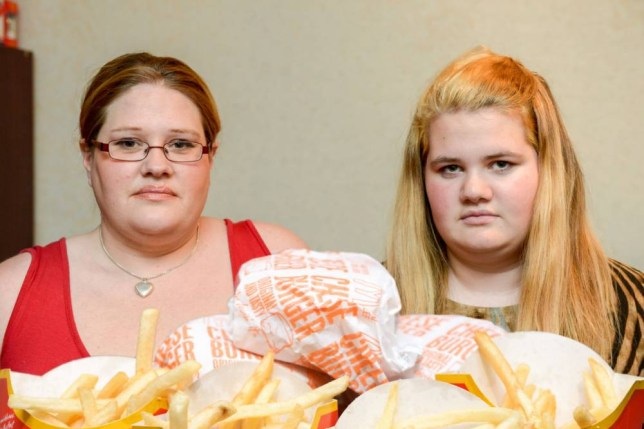 """Sabrina Hopkinson with her daughter Corrina aged 16. See SWNS story SWBURGER: A furious mum has vowed to never eat McDonalds again, after claiming her daughter was """"fat-shamed"""" for ordering SIX cheeseburgers. Sabrina Hopkinson , a mum of four, says she allowed her children a rare treat of burgers and chips over the Christmas holidays, and sent them to the local Maccy Ds. But says she was ìlividî when her eldest daughter Corrina, 16, came home crying and alleged that the till-worker had called her fat while the other staff watched and laughed - because the larger girl ordered a whopping six burgers and four portions of fries. Sabrina, 37, said: ìNormally we have home-cooked meals, but once in a while I let them have a treat."""