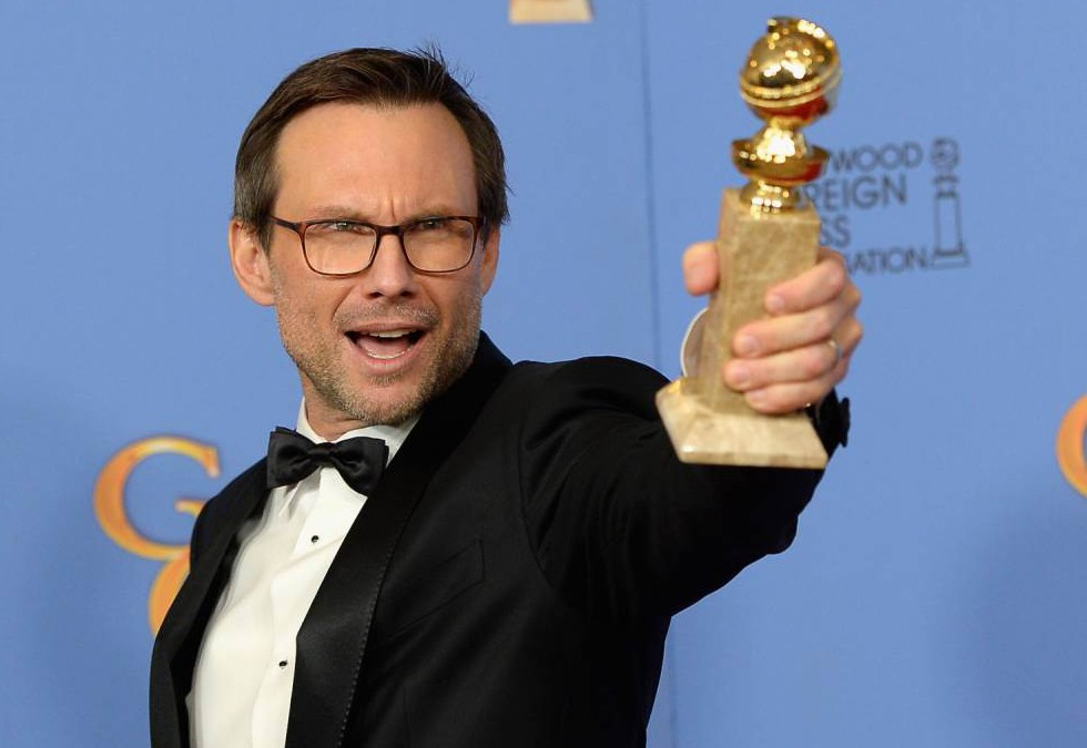 BEVERLY HILLS, CA - JANUARY 10: 73rd ANNUAL GOLDEN GLOBE AWARDS -- Pictured: Actor Christian Slater, winner of the award for Best Performance by an Actor in a Supporting Role in a Series, Mini-Series or Motion Picture Made for Television for 'Mr. Robot', poses in the press room at the 73rd Annual Golden Globe Awards held at the Beverly Hilton Hotel on January 10, 2016. (Photo by Kevork Djansezian/NBC/NBCU Photo Bank via Getty Images)