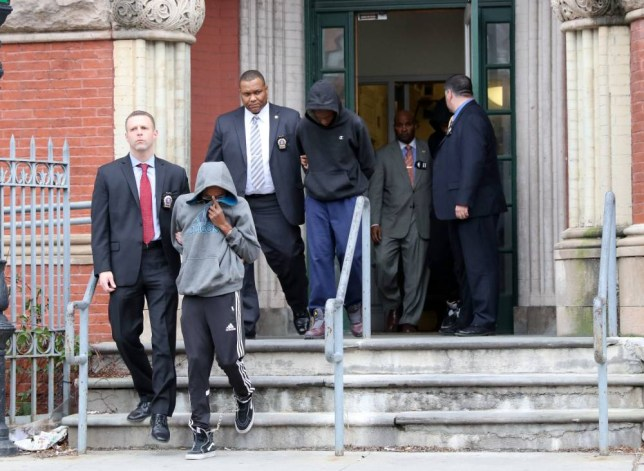 Denzel Murray (gray sweatshirt) Ethan Phillip (champion sweatshirt) and Shaquell Cooper (zipper) January 12, 2016nDenzel Murray, Ethan Phillip and Shaquell Cooper leave for court to be tried as adult in the gang rape in a Brownsville playground in Brooklyn, NYn