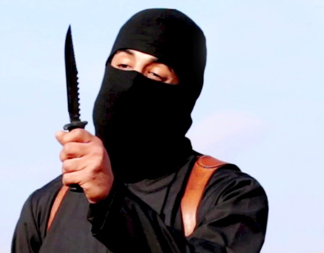 """A masked, black-clad militant, who has been identified by the Washington Post newspaper as a Briton named Mohammed Emwazi, brandishes a knife in this still file image from a 2014 video obtained from SITE Intel Group February 26, 2015. The United States on November 12, 2015 carried out an air strike in Syria targeting the Islamic State militant known as """"Jihadi John,"""" who participated in gruesome videos showing the killings of American and British hostages, officials said. One U.S. official, speaking on condition of anonymity, said the strike likely killed Mohammed Emwazi, a British citizen, but cautioned that it was too soon to make any determination. Dressed entirely in black, a balaclava covering all but his eyes and the bridge of his nose, """"Jihadi John"""" became a menacing symbol of Islamic State brutality and one of the world's most wanted men. REUTERS/SITE Intel Group/Handout via Reuters/Files ATTENTION EDITORS - THIS PICTURE WAS PROVIDED BY A THIRD PARTY. REUTERS IS UNABLE TO INDEPENDENTLY VERIFY THE AUTHENTICITY, CONTENT, LOCATION OR DATE OF THIS IMAGE. FOR EDITORIAL USE ONLY. NOT FOR SALE FOR MARKETING OR ADVERTISING CAMPAIGNS. THIS PICTURE WAS PROCESSED BY REUTERS TO ENHANCE QUALITY. TPX IMAGES OF THE DAY X80001"""