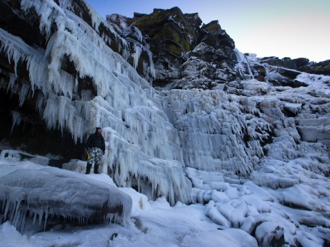 It's so cold that a UK waterfall has completely frozen over