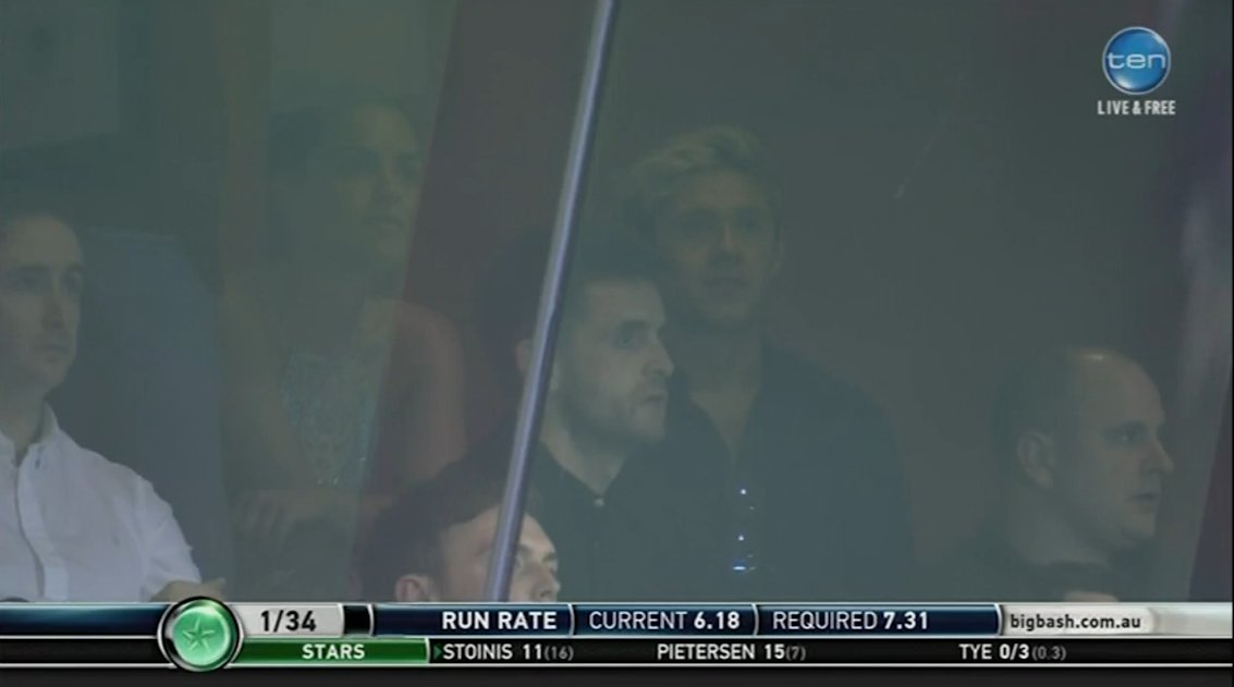 One Direction star Niall Horan watches cricket with Olympia Valance