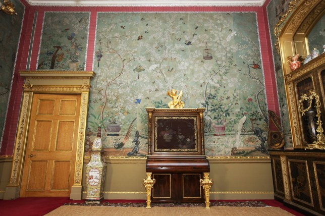 """The Chinese Drawing Room at Temple Newsam, Leeds, where wallpaper gifted by the Prince of Wales in the early 1800s was enhanced by Lady Isabella Hertford with cutouts from John James Audubon's famous book Birds of America- copies of which can sell for £7.3 million today. See Ross Parry Copy RPYBIRDS: A copy of one of the world's rarest books could have fetched a whopping £7m at auction - had the owner not cut it up to make WALLPAPER. Aristocrat Lady Isabella Hertford took her scissors to the book back in 1827 when she decided her mansion needed decorating.She used 28 pictures from John James Audubon's """"The Birds of America"""" to stick on the Chinese-inspired wallpaper in the Chinese Drawing Room at Temple Newsam House in Leeds, W Yorks. the paper had been given to her by her lover, the Prince of Wales - later King George IV."""