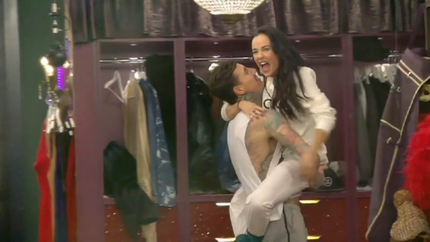 ` ****Ruckas Videograbs**** (01322) 861777 *IMPORTANT* Please credit Channel 5 for this picture. 28/01/16 Celebrity Big Brother DAY 24 SEEN HERE: Stephanie Davis and Jeremy McConnell continue to flirt, with Jeremy picking her up and getting in bed together, yesterday evening Grabs from overnight in the CBB house Office (UK) : 01322 861777 Mobile (UK) : 07742 164 106 **IMPORTANT - PLEASE READ** The video grabs supplied by Ruckas Pictures always remain the copyright of the programme makers, we provide a service to purely capture and supply the images to the client, securing the copyright of the images will always remain the responsibility of the publisher at all times. Standard terms, conditions & minimum fees apply to our videograbs unless varied by agreement prior to publication.