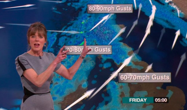 "Graphic image of storm Gertrude over the atlantic approaching the UK - A storm officially named Gertrude by the Met Office has been forecast to bring heavy rain, high winds, snow and ice to Scotland on Friday. The Met Office has issued amber ""be prepared"" and yellow ""be aware"" warnings for Scotland and large parts of the rest of the UK. The amber warning for high winds is in place from 03:00 to 10:00 on Friday. Picture:BBC/Universal News And Sport (Europe) 28 Jan 2016."
