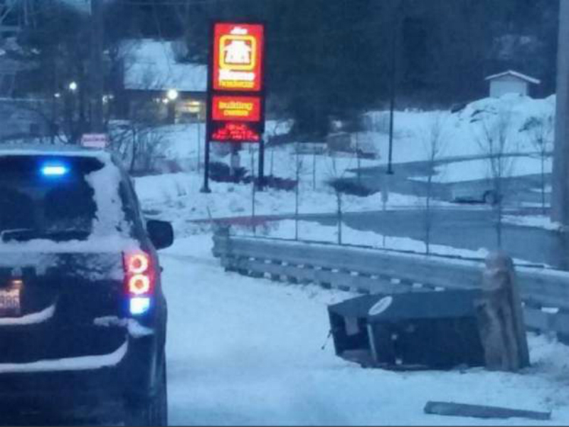 The ATM was left at the roadside after being dragged from the strip club (Picture: Guelph Police)