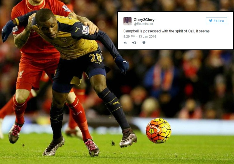 Arsenal fans on Twitter think Joel Campbell is possessed with the spirit of Mesut Ozil v Liverpool