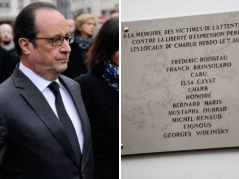 French president reveals Charlie Hebdo victim plaque but one of the names is misspelled