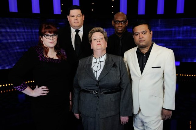 From ITV Studios THE CHASE Weekdays from 1st September 2015 on ITV Pictured: The Chasers (l-r) Jenny Ryan, Mark Labbett, Anne Heggerty, Shaun Wallace and Paul Sinha ITV DaytimeÕs The Chase, returns after a summer break with a brand new Chaser joining the ultra clever clan. The series - hosted by Bradley Walsh - will see Jenny ÔThe VixenÕ Ryan join Anne ÔThe GovernessÕ Hegerty, Shaun ÔThe Dark DestroyerÕ Wallace, Mark ÔThe BeastÕ Labbett and Paul ÔThe SinnermanÕ Sinha in the hit quiz show. Jenny brings the hot to The GovernessÕ cool and has also earned herself the name of The Bolton Brainiac by Bradley! The Chase isnÕt just a quizÉ itÕs a race, where the players must ensure they stay one step ahead of ÔThe ChaserÕ, a ruthless quiz genius determined to stop them winning at all costs. Stay ahead of ÔThe ChaserÕ and the team of contestants build a cash sum and share the pot. Get caught and they lose the lot. Jenny said: ÒI'm thrilled to be joining the formidable line-up on The Chase! It's a dream job for any quizzer, and I can't wait to see what the contestants make of me - especially when I catch them!Ó Jenny will first appear on the show on Wednesday 2nd September at 5pm on ITV. The Chase series 9 continues after a summer break on Monday 31st August and airs weekdays at 5pm on ITV. © ITV For further information please contact Peter Gray 0207 157 3046 peter.gray@itv.com This photograph is © ITV and can only be reproduced for editorial purposes directly in connection with the programme THE CHASE or ITV. Once made available by the ITV Picture Desk, this photograph can be reproduced once only up until the Transmission date and no reproduction fee will be charged. Any subsequent usage may incur a fee. This photograph must not be syndicated to any other publication or website, or permanently archived, without the express written permission of ITV Picture Desk. Full Terms and conditions are available on the website www.itvpictures.com