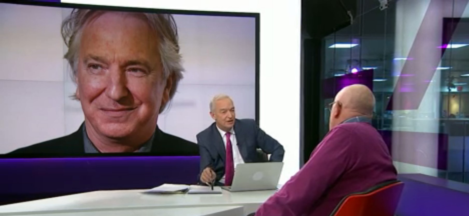 Jon Snow slammed for slipping 'I don't believe it' into interview with Richard Wilson about Alan Rickman