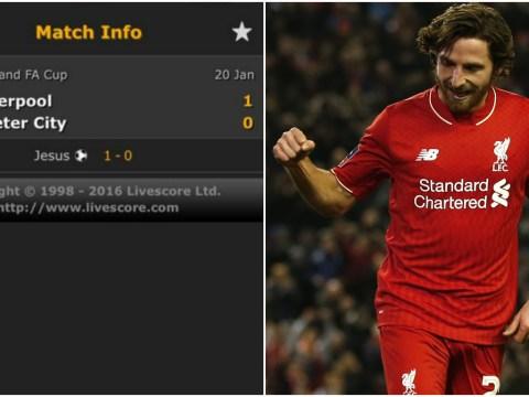 Joe Allen mistaken for Jesus on live score apps after Liverpool goal v Exeter City