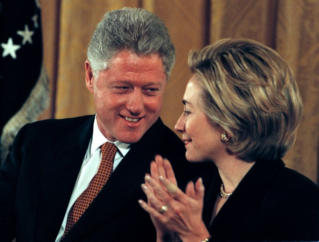 Bill and Hillary Clinton in February 1999, when Broaddrick first made her allegations (Picture: Mike Holmes)
