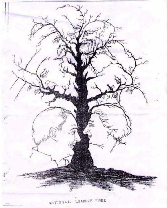 How many faces can you see in this tree? The Leader's Tree