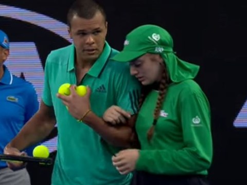Jo Wilfried-Tsonga comes to injured ballgirl's aid during Australian Open 2016