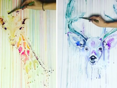 Watching this artist create drip watercolour paintings will soothe your soul