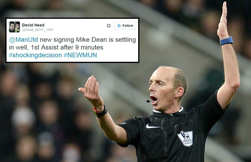 Manchester United congratulated on signing Mike Dean following penalty decisions v Newcastle