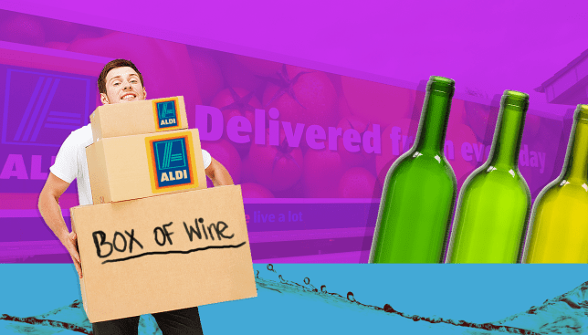 Aldi will now deliver cheap AF cases of wine to your door Source: Alamy Credit: MylesGoode