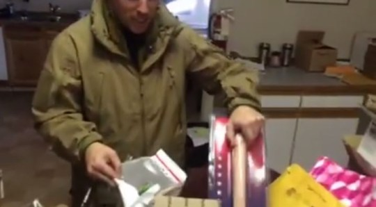 He wasn't impressed with the lengthy dildo (Picture: YouTube/Jon Ritzheimer)
