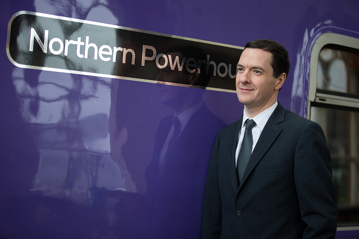 Chancellor of the Exchequer George Osborne attends the naming ceremony for a refurbished Class 319 electric train at Manchester Piccadilly Railway Station.