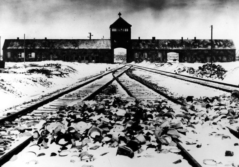 ** FILE ** Auschwitz Concentration Camp, Poland, is seen in this January 1945 file picture. 60 years ago, on January 27, 1945, Red Army soldiers liberated the Nazi Concentration Camp. (AP Photo/File) ** B/W ONLY **