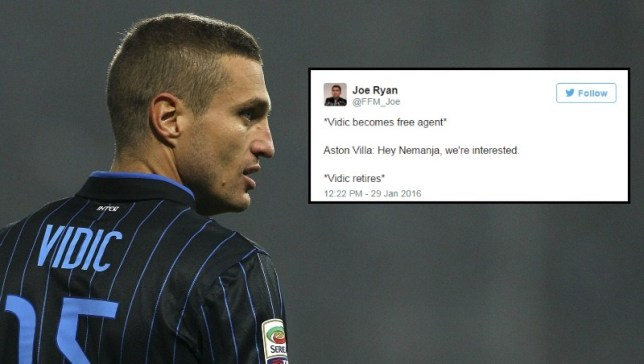 Did Vidic retire at the thought of leaving Villa? (Picture: Getty Images)